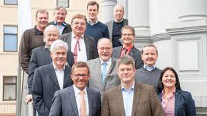 Mitglieder des MIT Landesvorstandes mit CDU Generalsekretär Patrick Schnieder MdB und MIT Landesvorsitzender Gereon Haumann auf der Klausur in Bad Kreuznach